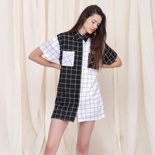 🚚 Spotlight Checkered Black & White Button Down