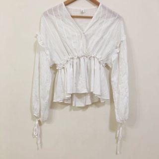 Alyssa White Flutter Long Sleeve Top
