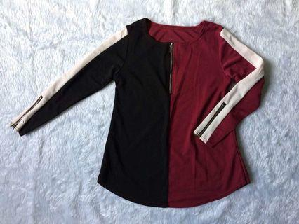 COLOR BLOCK ZIPPER BLOUSE