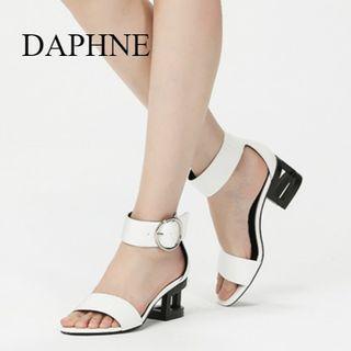 Daphne/達芙妮專櫃夏季新時尚扣帶鏤空高跟宴會女涼鞋全新清倉 挑戰最低價任選3件免運費