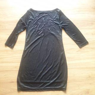 Metallic Black ZARA Evening Collection dress with keyhole back