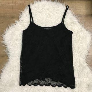 Topshop black lace spaghetti strap singlet top size xs 6