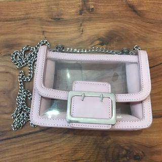 Transparent pink handbag women girls teenagers woman wanita gadis