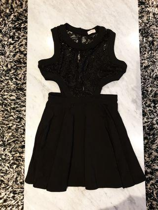 [SIZES UK: 10] Black Lace Cut-Out Dress