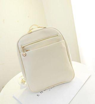 Cream Beige Faux Leather Bagpack