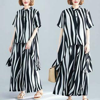Summer irregular collar collar wide-leg pants two-piece large size striped fashion suit
