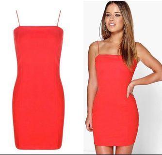 Boohoo Red Body Con Dress