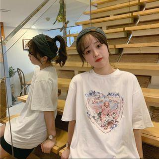 [2 Colours] Ulzzang Oversized Graphic Tee