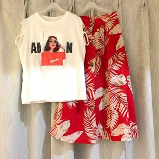 Floral Leave Red Portrait White Top A Line Maxi Skirt Beach Summer Set Wear