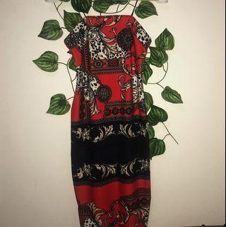 size s | scarf print bodycon dress