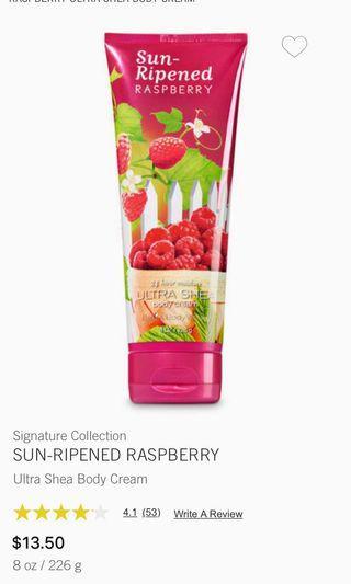 Bath and & Body Works SUN-RIPENED RASPBERRY Ultra Shea Body Cream 226g