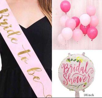 Bride to be sash with helium balloons