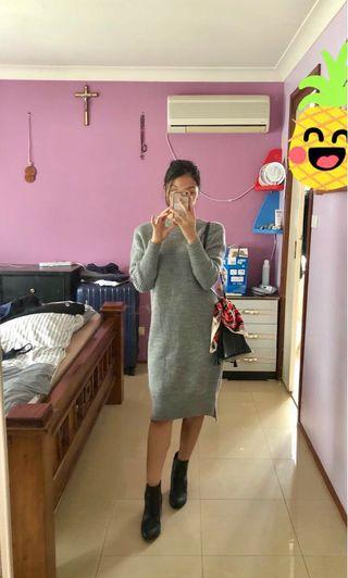 Grey gray sweater dress