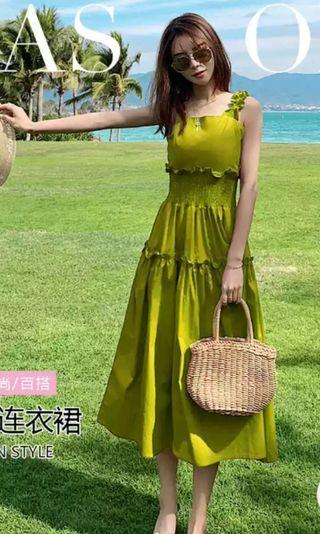 🚚 Lime green Midi Dress