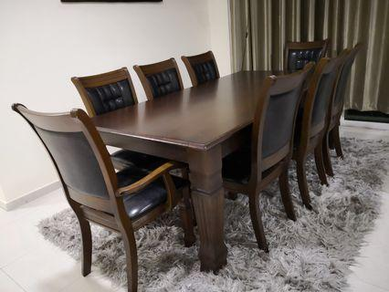 Solid Wood Dining Table Set For 8 People (Like New)