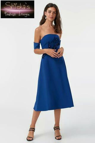 Indigo Off Shoulder Floral Applique Dress