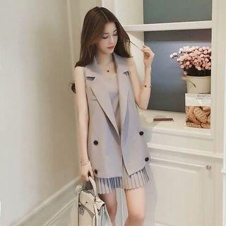 2pcs Grey dress and vest set