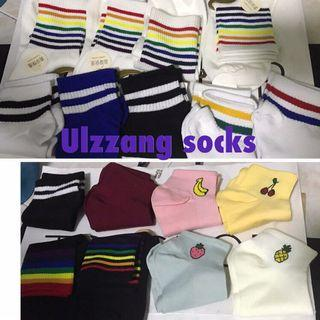 🚚 BNIP socks clearance sale cheap striped rainbow ulzzang cute casual long socks mid socks ankle socks bn brand new fruit design refreshing teen cute