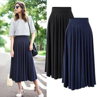 (M~6XL) Modal loose skirt in the long paragraph large swing skirt high waist pleated umbrella skirt