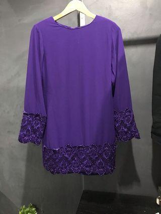 Baju Kurung Moden Jakel Purple with beads