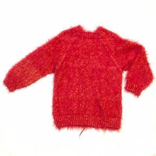 Thick Knitted Turtle Neck Red Fur Long Sleeve Sweater Autumn Winter