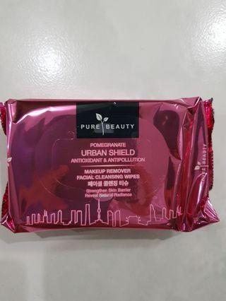 🚚 Pure Beauty  URBAN SHIELD MAKEUP REMOVER FACIAL CLEANSING WIPES