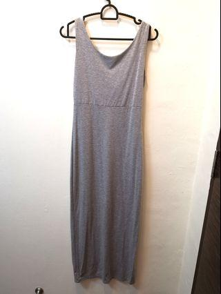 Grey bodycon maxi deep V back dress