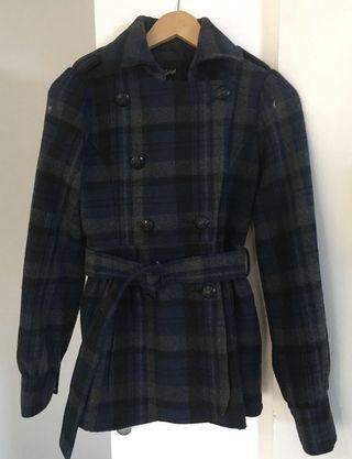 Navy/Grey Tartan Crop Trench Coat