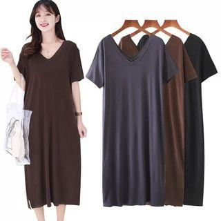 Plus Size short-sleeved dress female European and American loose large size split long skirt