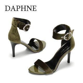 Daphne/達芙妮歐美時尚一字帶細跟涼鞋性感絨面水鑽扣飾高跟鞋全新清倉 挑戰最低價任選3件免運費