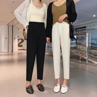 High waist button pencil pants
