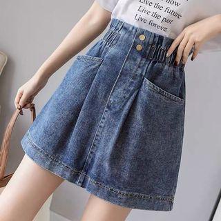 全新大碼橡筋腰牛仔短裙