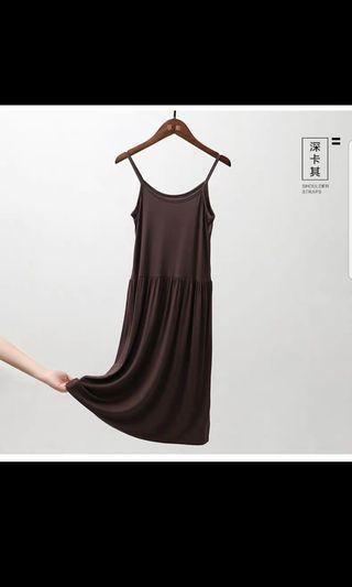 [Brand New] Dark Brown Modal Slip Dress, size L