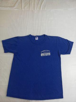 Ngu古著   美製 深藍素面小logo純棉t恤