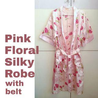 Pink Floral Silky Robe with Belt
