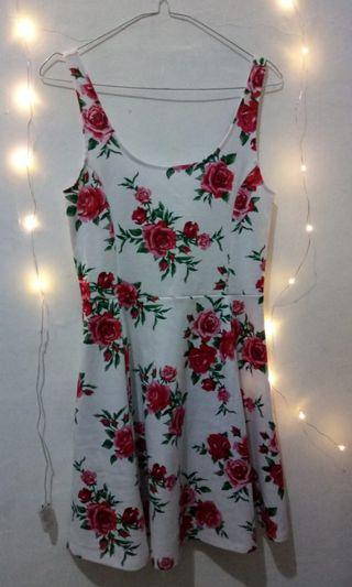 HnM red white floral dress