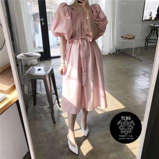 3161 泡泡袖連身裙(一字肩/斜肩)