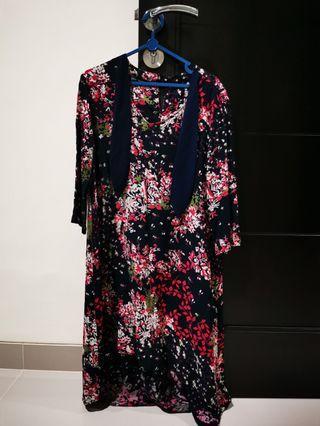 Kyra-Banded neck swing sleeve dress