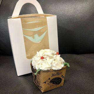 全新白玫瑰花蛋糕造形肥皂擺設cup cake soap