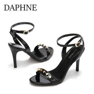 Daphne/達芙妮專櫃新品時尚性感鉚釘高跟宴會時裝女鞋全新清倉 挑戰最低價任選3件免運費