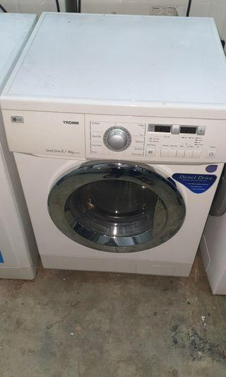 Used LG DD 2in1 combo front load hot washer 8.0kg and dryer 4.0kg mesin basuh fully automatic stainless steel drum pengering baju drying machine in good condition
