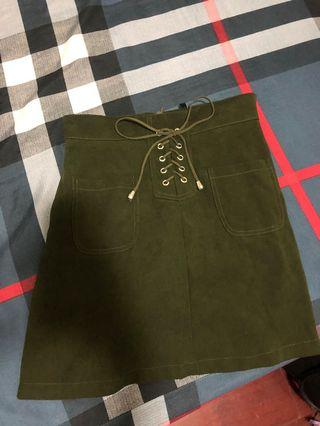 Lovfee墨綠麂皮褲裙