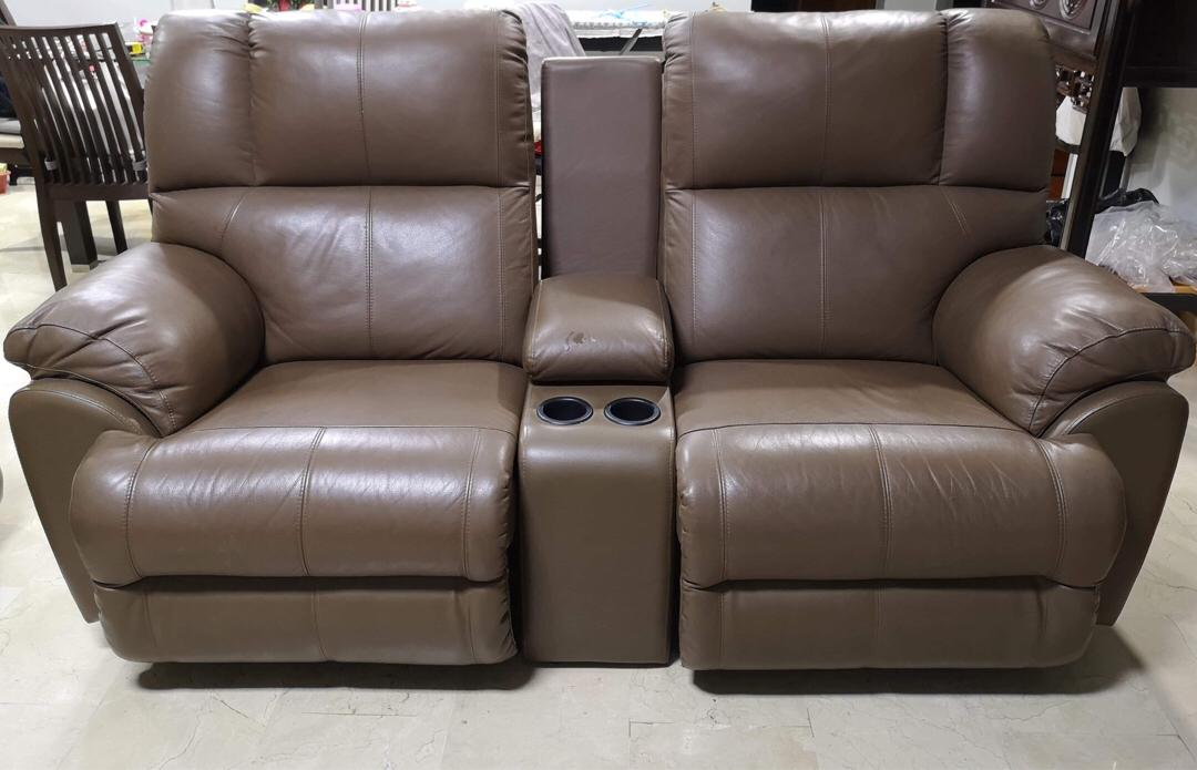 2 Seater Leather Recliner Sofa With Cup
