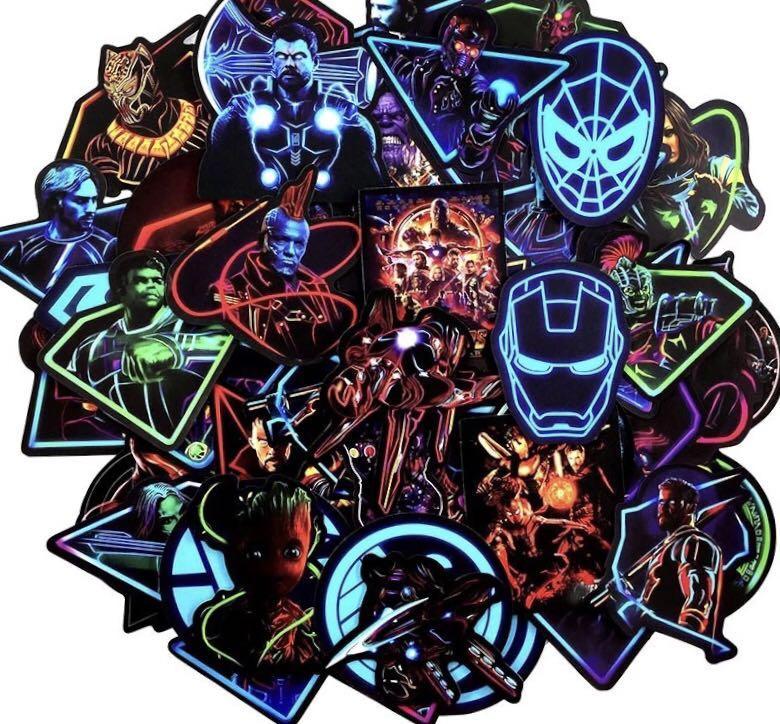 48Pcs Neon MARVEL Super Hero Avengers Stickers Cartoon Anime Sticker For Motorcycle Laptop Skateboard TOY DIY Stickers