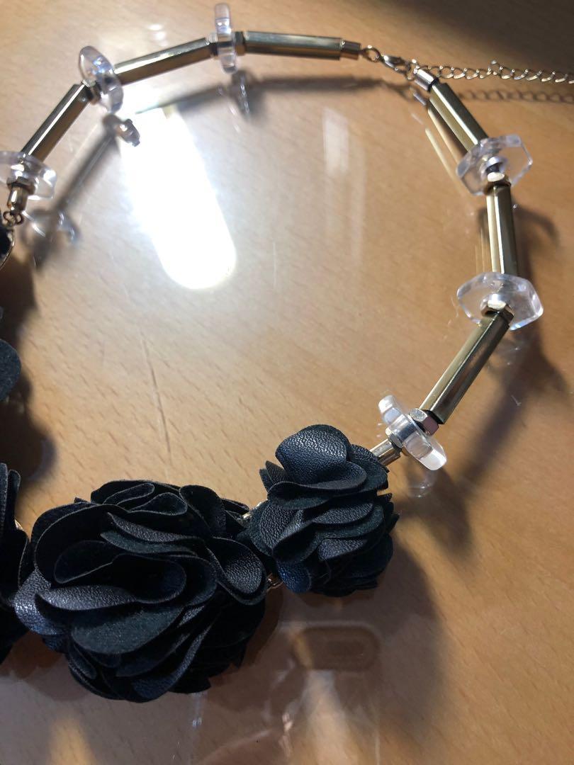 皮質 玫瑰項鍊+樹葉 銀 手環