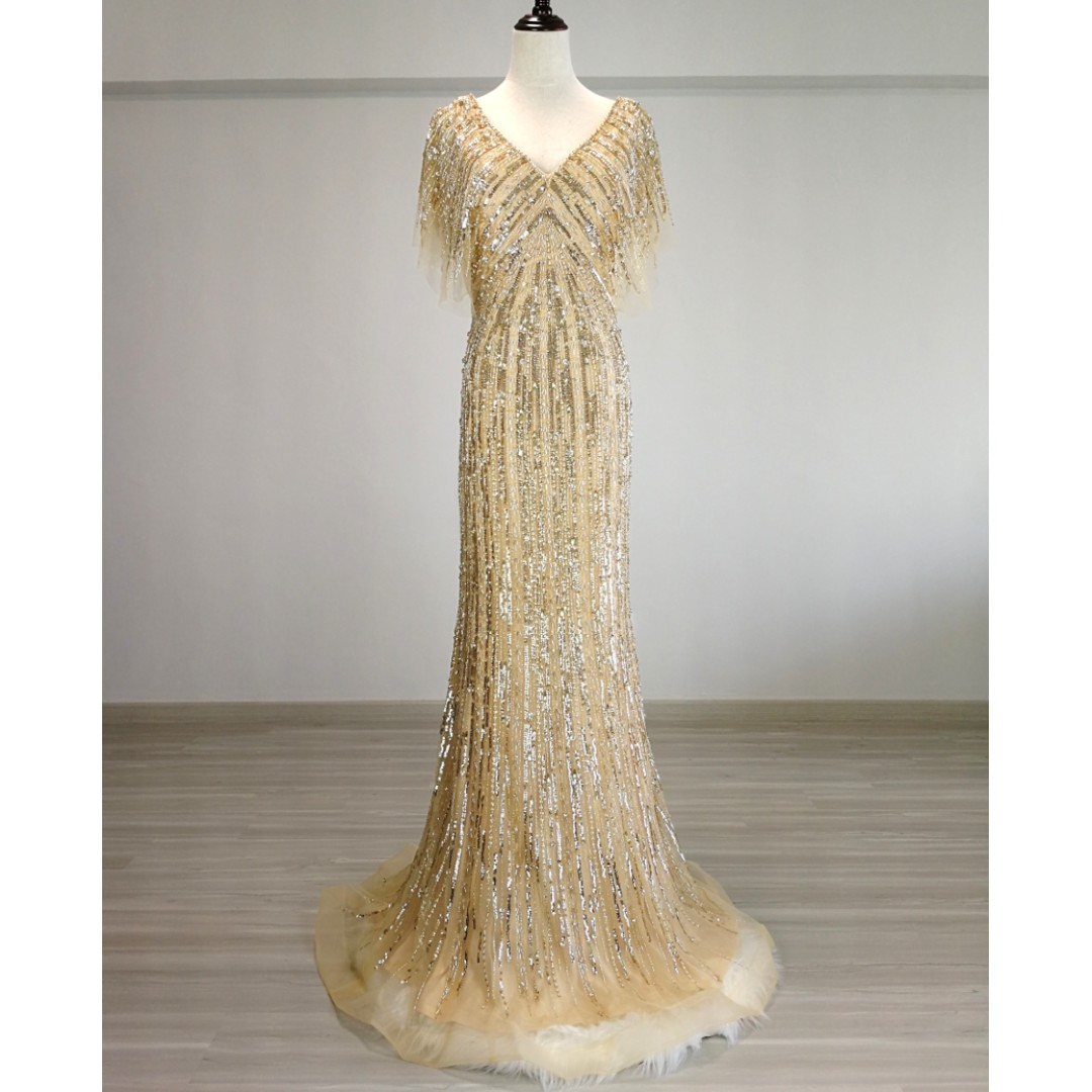 Allure Alley Gold flutter sleeves Evening gown (Rental)
