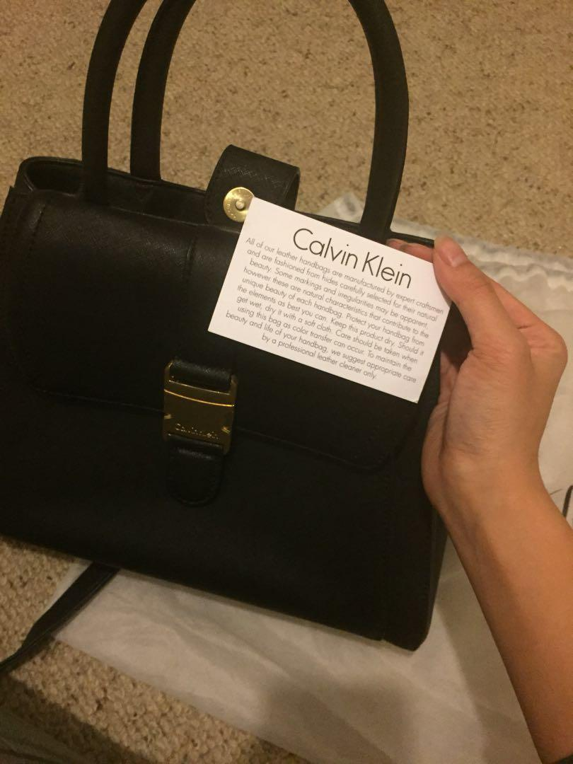 AUTHENTIC Calvin Klein black saffiano large leather cross over side body bag