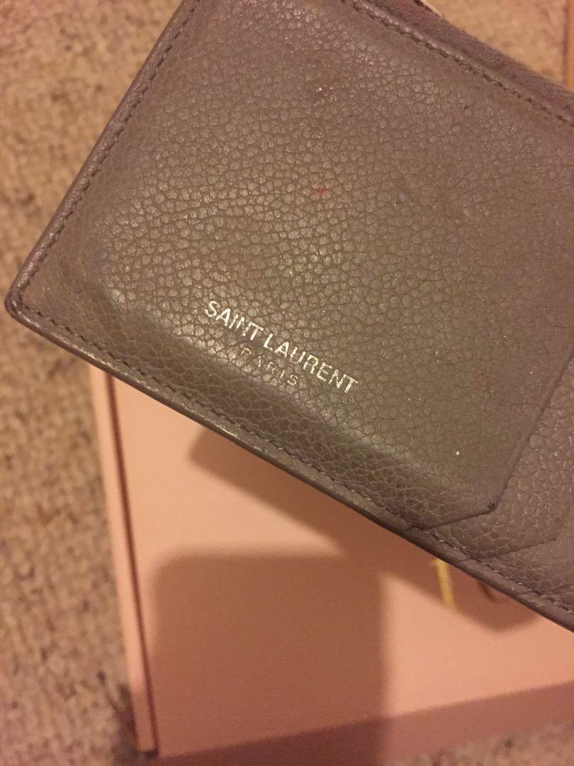 Authentic Saint Laurent YSL fragments zipped card holder in grained leather grey