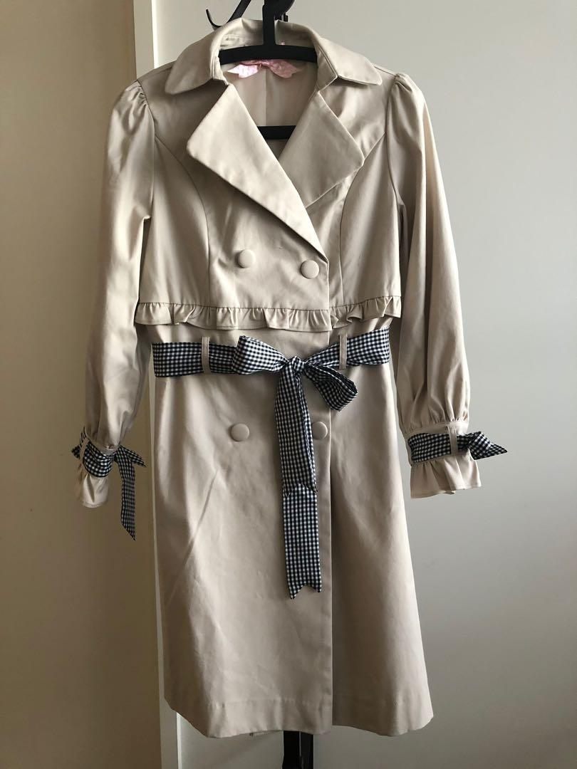 Beige Japanese style trench coat with frills and detachable ribbons