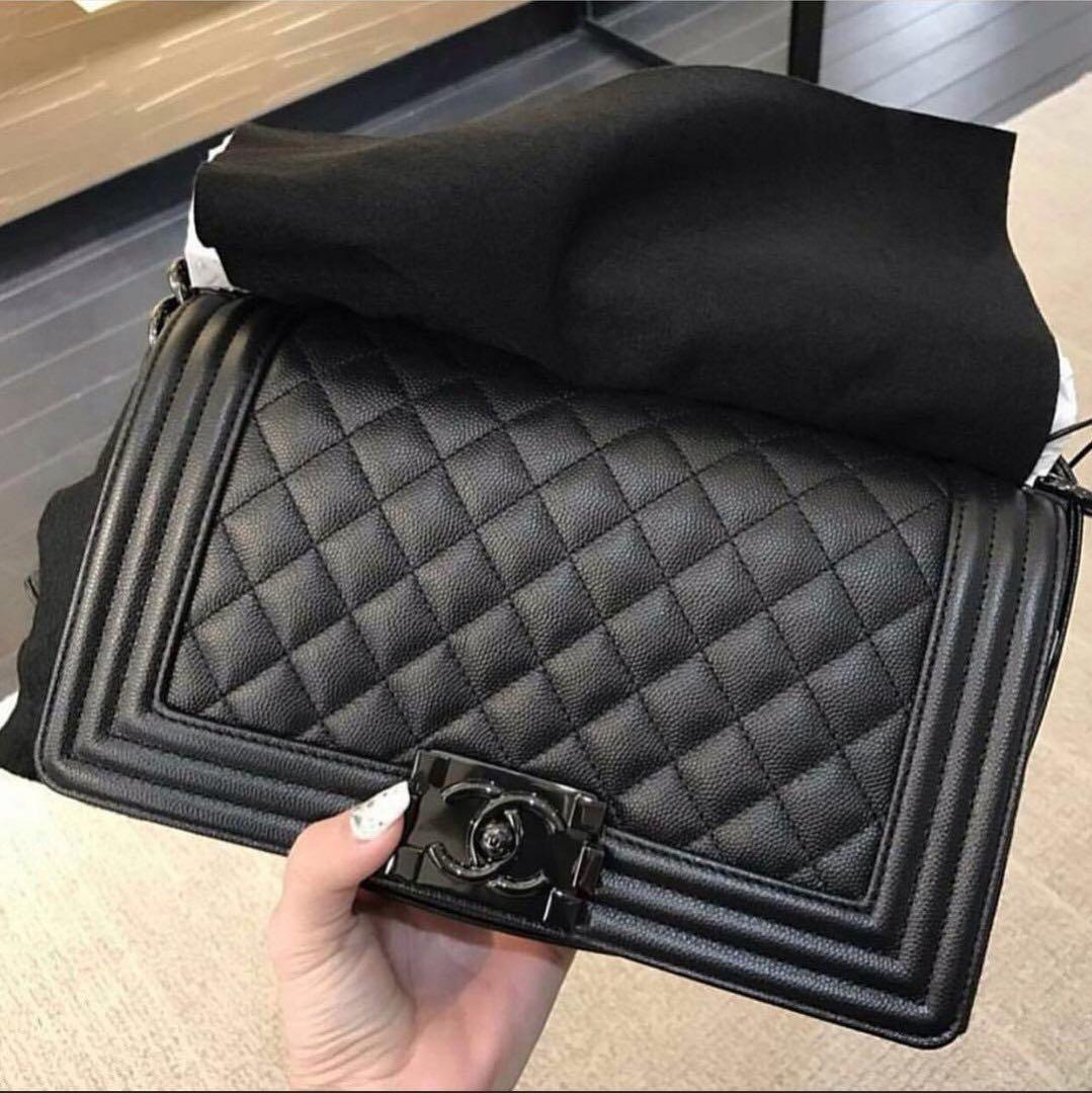 4f4aef0ed Chanel Boy Bag so black 25cm, Luxury, Bags & Wallets, Handbags on Carousell